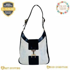 Gucci shoulder bag suede leather gray black